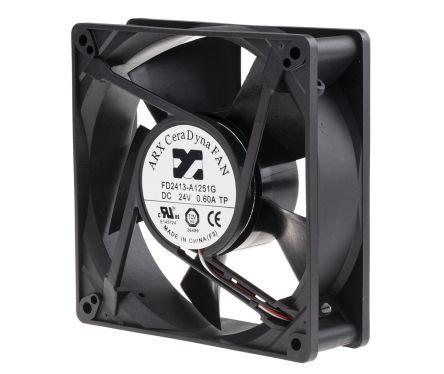 DC Axial Fan, 127 x 127 x 38mm, 333m³/h, 20.4W, 24 V dc (CeraDyna Series)