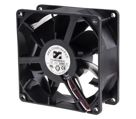 ARX Axial Fan, 92 x 92 x 38mm, 207.7m³/h, 16.32W, 24 V dc (CeraDyna Series)