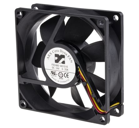 ARX Axial Fan, 80 x 80 x 25.4mm, 69m³/h, 3.84W, 24 V dc (CeraDyna Series)