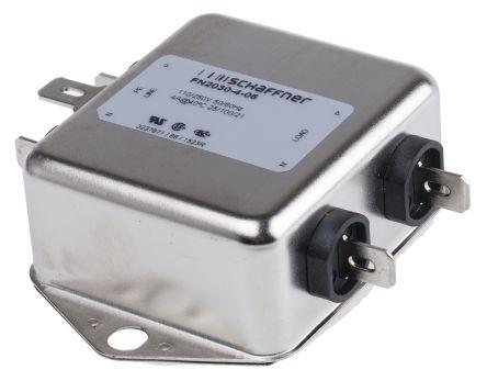 Schaffner FN2030 Series 4A 250 V ac 400Hz Flange Mount RFI Filter, with Tab  Terminals