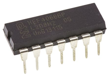 NXP HEF4066BP,652, Analogue Switch Quad SPST, 12 V, 5 V, 9 V, 14-Pin PDIP