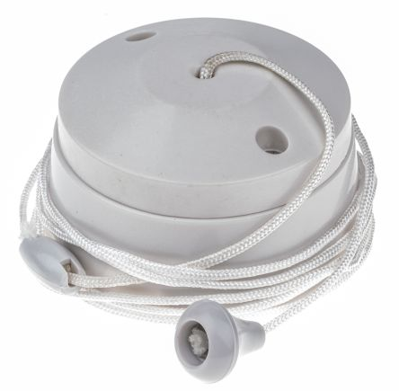 2 Way Pull Cord Switch, 1.5m, 250 V ac, 6 A for Fluorescent Lamp