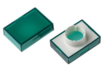 Rectangular green lens for 16mm switch