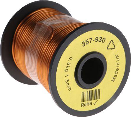 RS Pro PUR Kupferlackdraht, 1,5 mm² / Ø 1.59mm, Kupferdraht-Spule ...