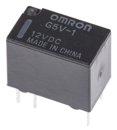 2 x Omron PCB Mount Non-Latching Relay G5V-1 12DC, Through ...