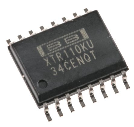 XTR110KU Texas Instruments, 4 → 20 mA Current Loop Transmitter 16-Pin SOIC