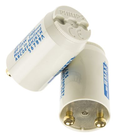 Philips Lighting 928390930371, Glow Fluorescent Light Starter, 70 → 125 W, 240 V ac, 40.3 mm length , 21.5mm