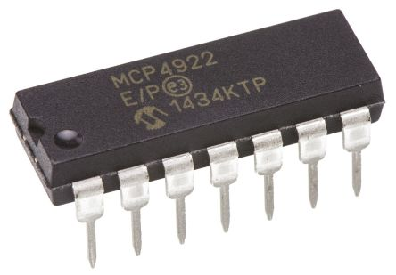 Microchip MCP4922-E/P, 2-Channel Serial DAC, 14-Pin PDIP