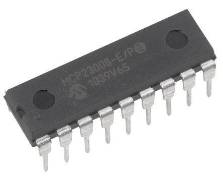 Microchip MCP23008-E/P, 8-Channel I/O Expander 5MHz, I2C, Serial MHz, 18-Pin PDIP