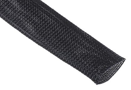 Rs Pro Expandable Braided Pet Black Cable Sleeve 40mm 10m