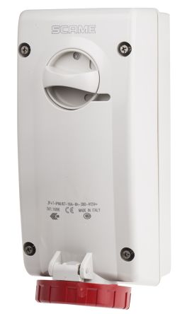 RS PRO Switchable IP67 Industrial Interlock Socket 3P+E, Earthing Position 6h, 16A, 415 V