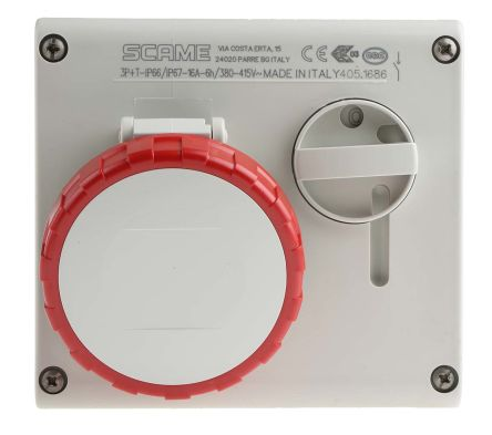 RS PRO Right Angle Switchable IP66, IP67 Industrial Interlock Socket 3P+E, Earthing Position 6h, 16A, 415 V