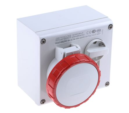 Horizontal Switchable IP66, IP67 Interlocked Socket 3PN+E, Earthing Position 6h, 16A, 415 V product photo