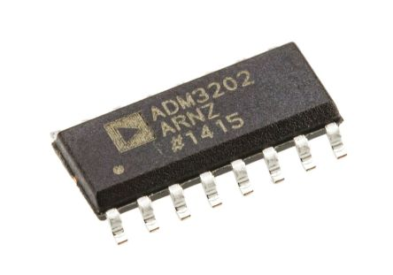 Analog Devices ADM3202ARNZ, Line Transceiver, RS-232 2-TX 2-RX, 3.3 V, 16-Pin SOIC