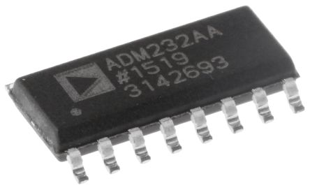 Analog Devices ADM232AARNZ, Line Transceiver, RS-232 2-TX 2-RX, 5 V, 16-Pin SOIC