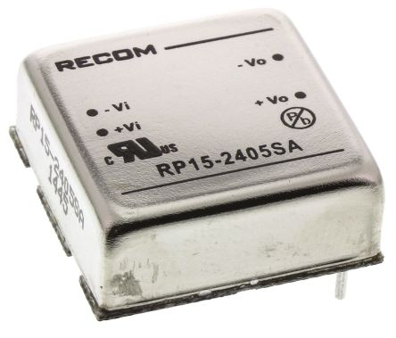 Recom RP15 A 15W Isolated DC-DC Converter Through Hole, Voltage in 18 → 36 V dc, Voltage out 5V dc