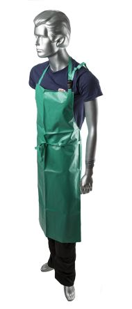 Alpha Solway Chemmaster Green PVC Reusable Apron, Chemical Resistant 1.07m