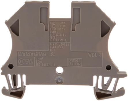 Weidmuller Feed Through Terminal Block, WDU Series , 4mm², 800 V, 32A, Screw Down Termination, Beige, Single Level