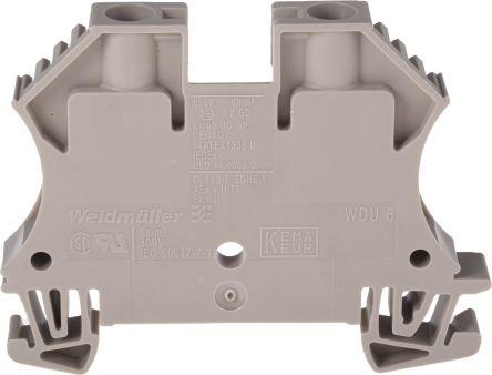 Weidmuller Feed Through Terminal Block, WDU Series , 6mm², 800 V, 41A, Screw Down Termination, Brown, Single Level