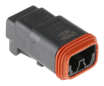 Deutsch DT Series, 2 Way Plug Connector, with Crimp Termination Method