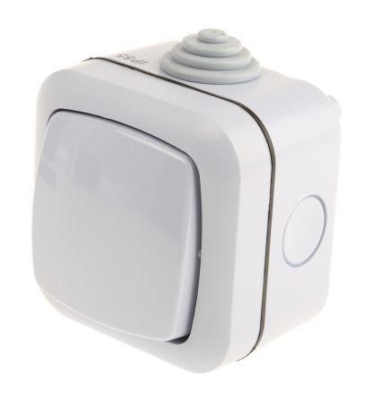 Grey 10 A Surface Mount Rocker Light Switch Light Grey 22 mm, 2 Way Screwed Satin, 1 Gang BS Standard, 230 V 70mm