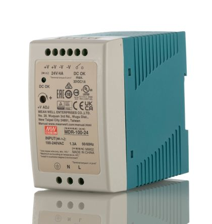 Power Supply;AC-DC;24V;4A;100-264V In;Enclosed;DIN;PFC;Industrial;96W;MDR Series