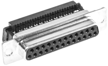 ITT Cannon Speedy D Series 1.27mm Pitch 25 Way IDC D-Sub Ribbon Cable Connector, Socket, Steel Shell