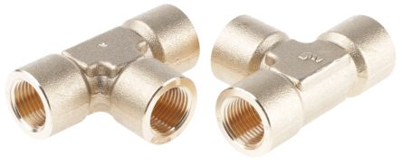 Brass 1/2 in BSPP Female x 1/2 in BSPP Female Equal Tee Threaded Fitting product photo