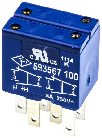 2 NO/2 NC Push Button Contact Block for use with Rectangular Momentary Pushbutton 4178545