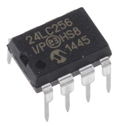 Microchip 24LC256-I/P, 256kbit Serial EEPROM Memory, 900ns 8-Pin PDIP I2C