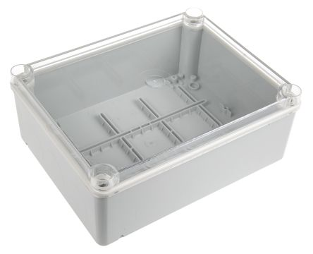 Thermoplastic IP55 Junction Box, 220 x 170 x 80mm, Grey