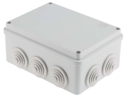 Thermoplastic IP55 Junction Box, 66 x 153 x 110mm, Grey