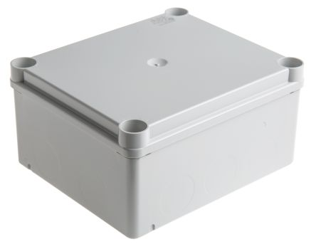 Thermoplastic IP55 Junction Box, 160 x 135 x 77mm, Grey