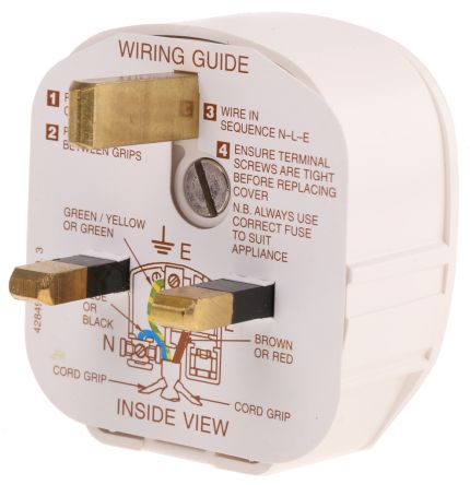 MK Electric UK Mains Plug BS 1363, 13A, Cable Mount on