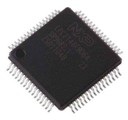 NXP LPC2148FBD64,151, 16 bit, 32 bit ARM7TDMI-S Microcontroller, 60MHz, 512  kB Flash, 64-Pin LQFP