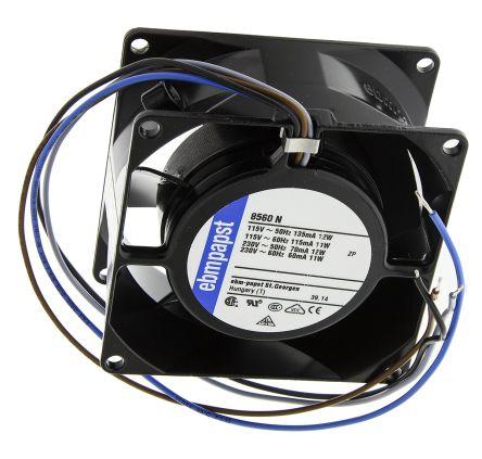 8000N Series Axial Fan, 80 x 80 x 38mm, 47m³/h, 12W, 115 V ac, 230 V ac product photo