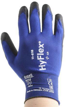 Ansell HyFlex Black General Purpose Nylon Polyurethane-Coated Reusable Gloves 9