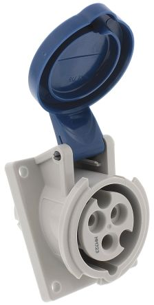 Mennekes IP44 Blue Panel Mount 2P+E 20 ° Industrial Power Socket, Rated At  16A, 230 V