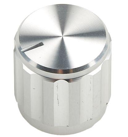 RS PRO Potentiometer Knob, Grub Screw Type, 15mm Knob Diameter, Silver, 6.4mm Shaft