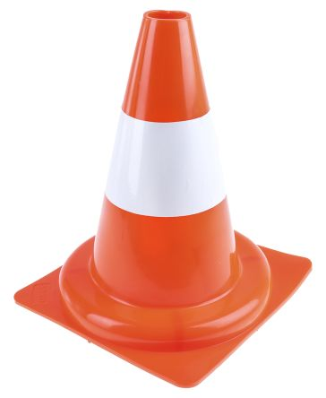 RS PRO Weighted Red, White 300mm PP Traffic Cone