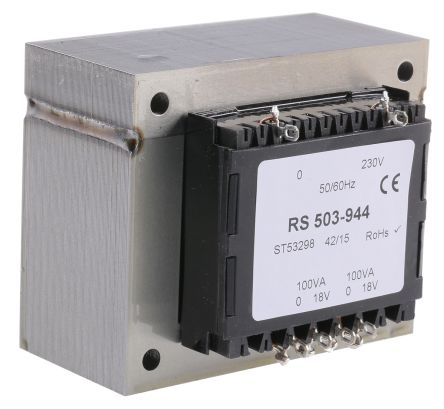 RS PRO 200VA 2 Output Chassis Mounting Transformer, 18V ac