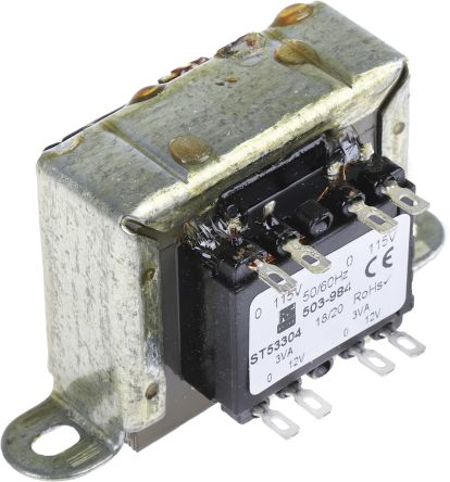 RS PRO 6VA 2 Output Chassis Mounting Transformer, 12V ac