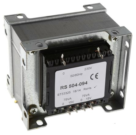 RS 150VA 2 Output Chassis Mounting Transformer, 15V ac