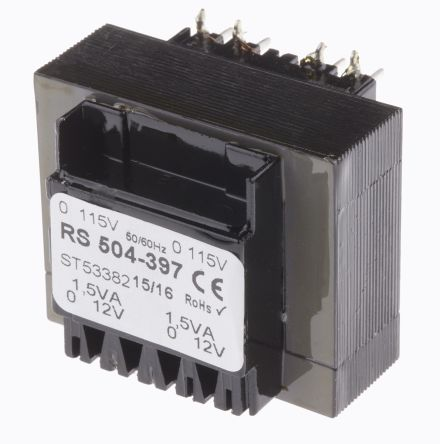 PCB 230V Mains Dual 115V Input Transformer 3VA Dual Secondary 15V PCB Mount Open