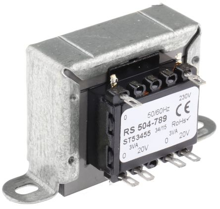 RS PRO 6VA 2 Output Chassis Mounting Transformer, 20V ac