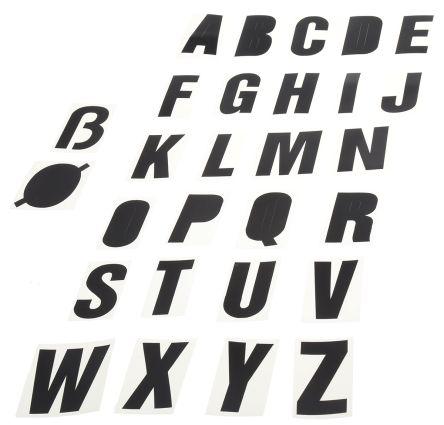 Black die cut label,50mm high letters