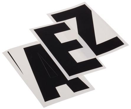 Black die cut label,75mm high letters