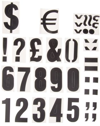 Black die cut label,75mm high numbers
