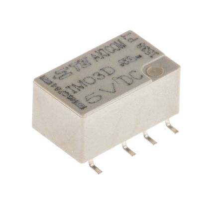TE Connectivity DPDT Non-Latching Relay PCB Mount, 5V dc Coil, 5 A