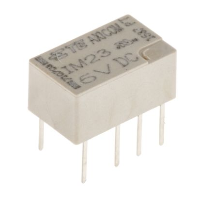TE Connectivity DPDT Non-Latching Relay PCB Mount, 5V dc Coil, 2 A